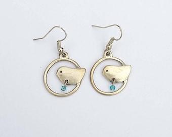 Fancy metal bird earrings