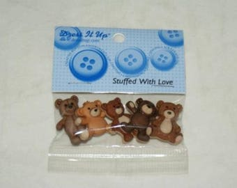 Set of 5 novelty buttons - the teddy bear