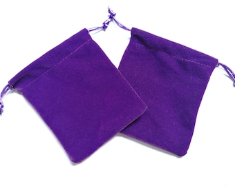 2 Velvet bags Purple Dice Bag Jewelry Pouch Bag Velveteen Drawstring Gift bags 5x4 inch Good Quality