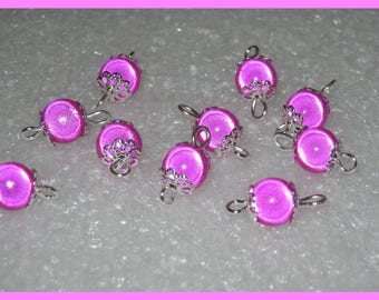 Silver 1 set of 10 beads connector spacer between two magical fuchsia 0638