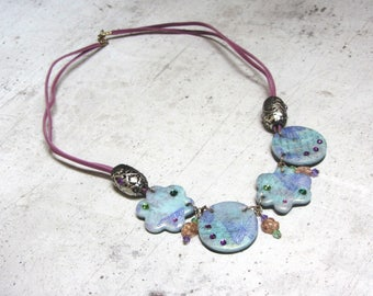 Patterns seagreen and pink Butterfly Necklace handmade by Little Valentine