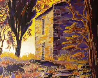 """Climb to the chapel at SIRAN"" painting 46 x 55 - 60 x 70 framed"