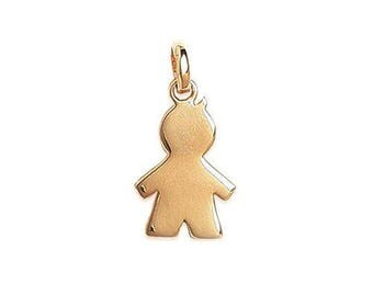 Boy engraved boy pendant customize plated gold 17 mm