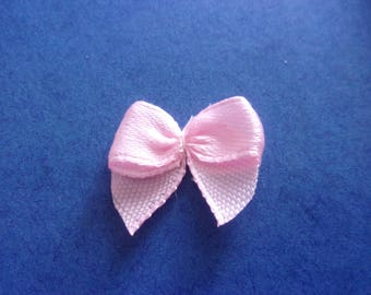 Set of 5 pink bows on satin - 25 x 20mm effect