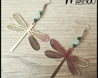 """Silver Earring """"Dragonfly summer"""""""