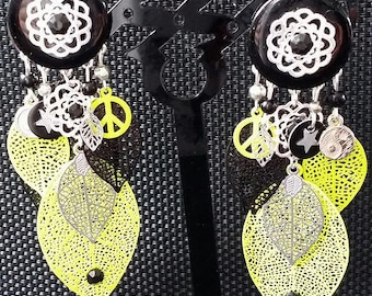 """Peace"" earrings neon 8 cm"