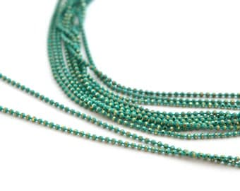 chain 50cm 1.2 mm metal turquoise and gold beads