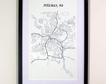 Pullman Washington - Watercolor Map