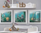 Trio of frames baby's room illustrations
