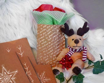 Set of 5 gift Christmas Carol gusseted bag handmade