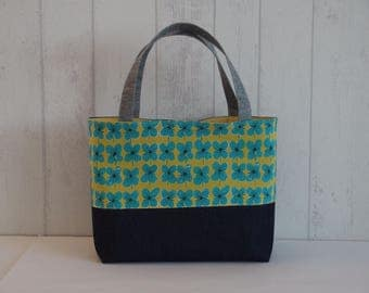 Denim and turquoise flowers purse