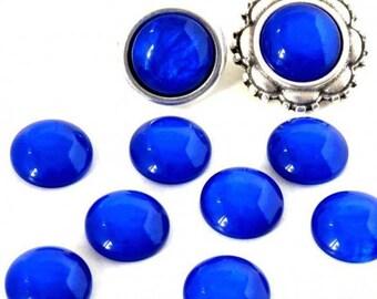 Cabochon resin - Effect shell - circular (12mm) - Blue Navy - CABSYRD1217BLE0200