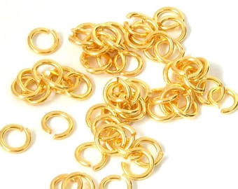Set of 20 Metal brass rings, high quality (9mm) - Gold