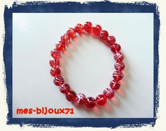 Glass bead bracelet - clear red