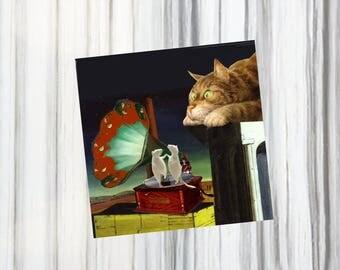 carte double  avec chats un brin surréaliste: mon beau phonographe