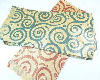 set of 10 kraft Brown decor sachets Burgundy or green