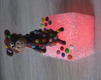 Night light for baby/child with multicolor giraffe Fimo
