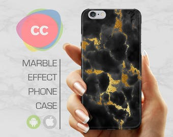 Black Gold Marble - iPhone 8 Case - iPhone 7 Case - iPhone X, iPhone 8 Plus, 7, 6, 6S, 5S, SE Cases - Samsung S8, S7, S6 Cases - PC-331