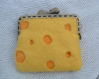 Real wool, Hand Made, Wet felted Purse, Cheese !!