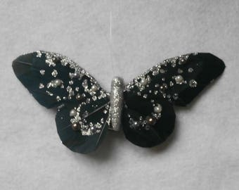 Large black and silver butterfly on clip