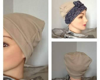 Hat chemo Jersey beige gathered on the top