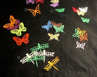 Set of 25 paper butterflies and dragonflies multicolored cutouts (die cuts)