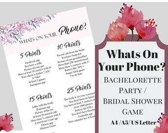 Whats On Your Phone Bachelorette Party Game, Printable Bachelorette Game, Bridal Shower Game, Hens Night Game