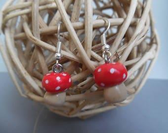Mushrooms polymer pierced earrings
