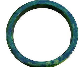 Bakelite Green Marble Spinach Bangle Bracelet