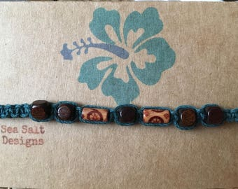 Teal Hemp Cord Bracelet with Wooden Beads