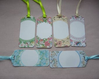 Set of 6 elegant hand made tags with with medallions - satin ribbons