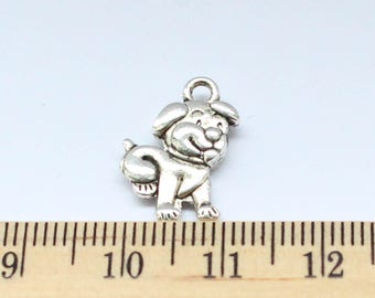 8 Dog Charms - Antique Silver - ef0068