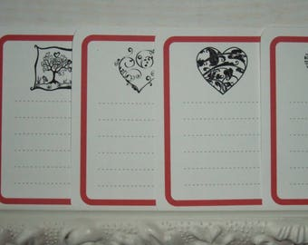 Set of 8 cards red heart Theme (n ° 1)