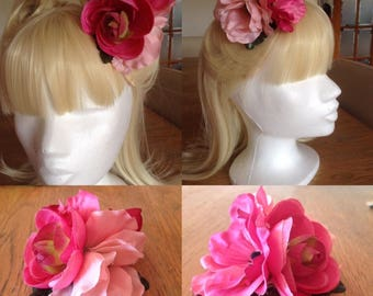 Pink Hair Flower 40s 50s Pin Up Rockabilly Vintage