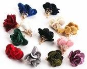 10pcs Velvet Flower Tassels Rose Tassel Charm Filigree Gold Cap Fluffy Tassel Earrings Tassel Jewelry DIY Jewelry Supplies Multi-colors 20mm