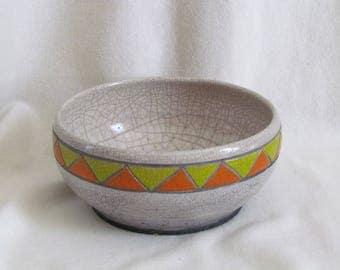Bowl deco green and orange triangles Raku