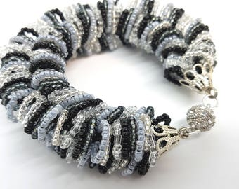 "Bracelet made of beads ""Gray neck"""