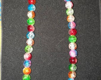 264. Multicoloured Glass Beaded Necklace/Choker
