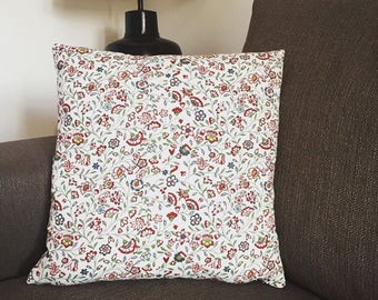 Throw pillow with floral patterns