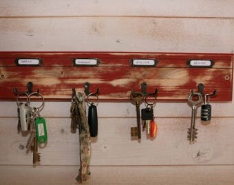 Red wooden wall key