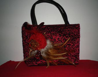 bag for evening or feather brooch lace and pearls