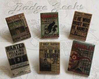 Quibbler, Harry Potter Inspired Shrink Plastic Pins, Pinback Badge
