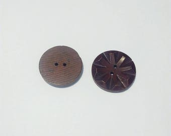 Buttons 2 large round vintage wood