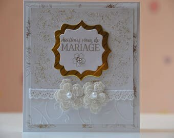 Wedding or anniversary bridal lace flower congratulations card