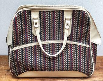 Vintage handbag white with wool print