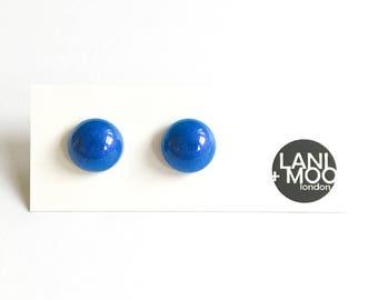 Circle Pearl Blue Resin Stud Statement Earrings