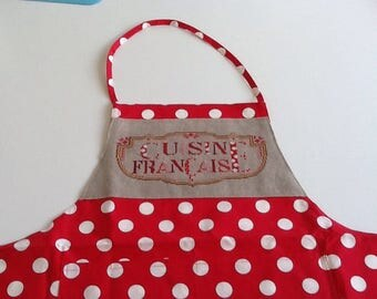 With hand embroidered bib apron