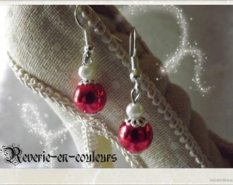 Earrings red beads and pearly white