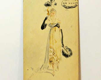 Lady of The Met Opera Costume Watercolor Original Signed Drawing 1894 Metropolitan Opera Unique 19th Century Signed By Artist 1894