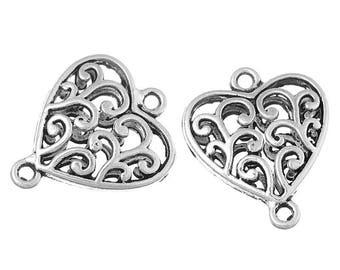 x 2 silver openwork heart connectors.